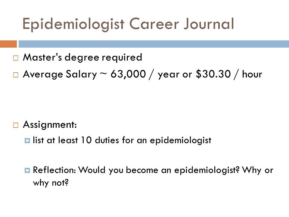Epidemiologist Career Journal