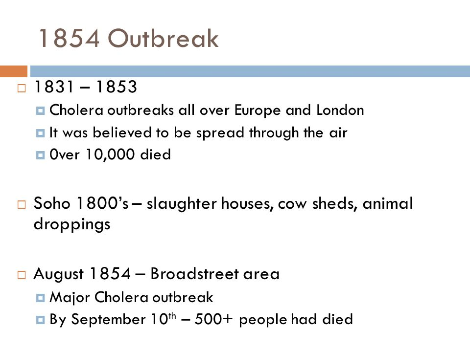 1854 Outbreak 1831 – 1853. Cholera outbreaks all over Europe and London. It was believed to be spread through the air.