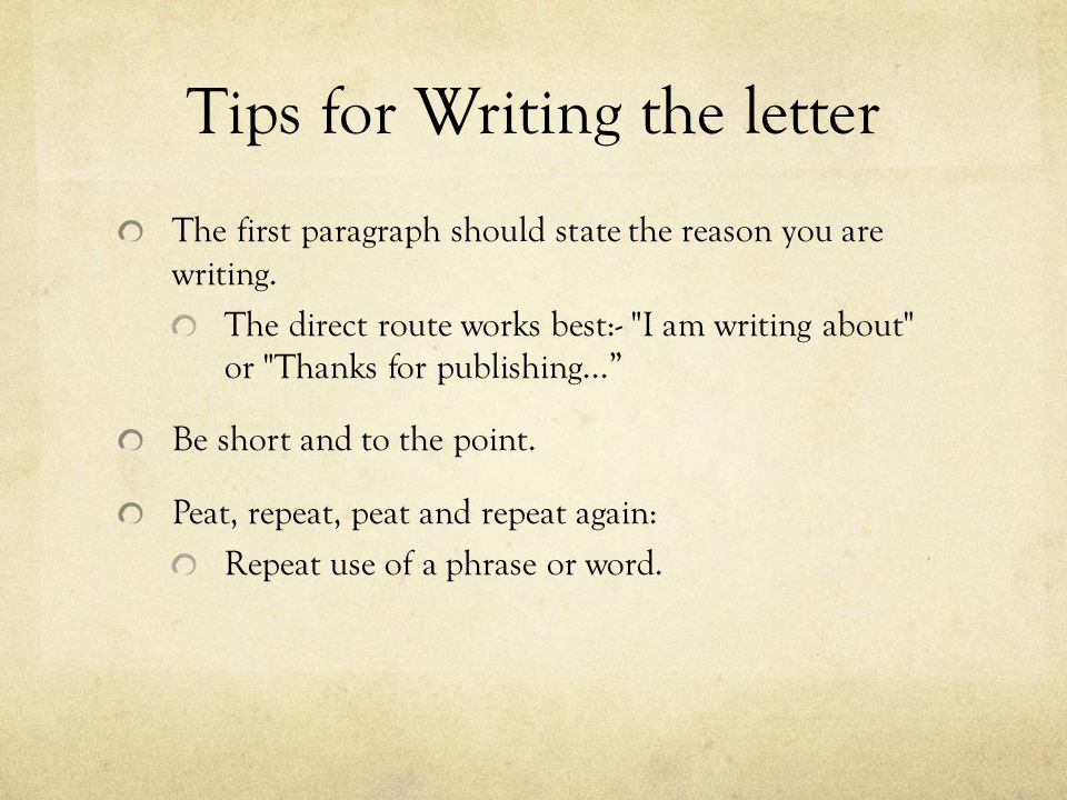 tips for writing a letter