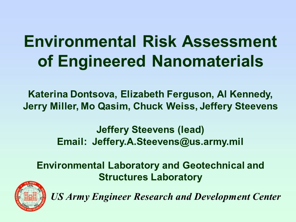 risks of engineered nanoparticles for the environment Nanotechnologies previous question 66 what are the effects of nanoparticles on the environment there are almost no publications on the effects of engineered.