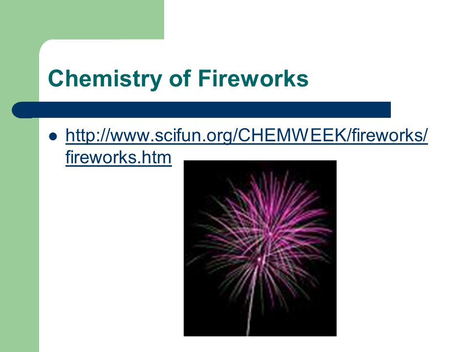 chemistry of fireworks essay Fireworks essays fireworks play a very major role on our environment and culture many cultures use fireworks to celebrate various holidays, however the chemicals used in fireworks and pyrotechnics can have negative effects on our environment.