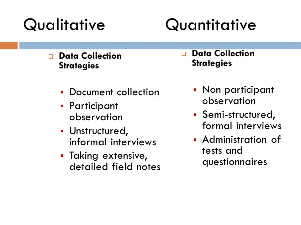 a strategy on the collection and analysis of qualitative and quantitative data Collection—quantitative and qualitative—operates within a cultural context and is affected to some extent by the perceptions and beliefs of investigators and data collectors.