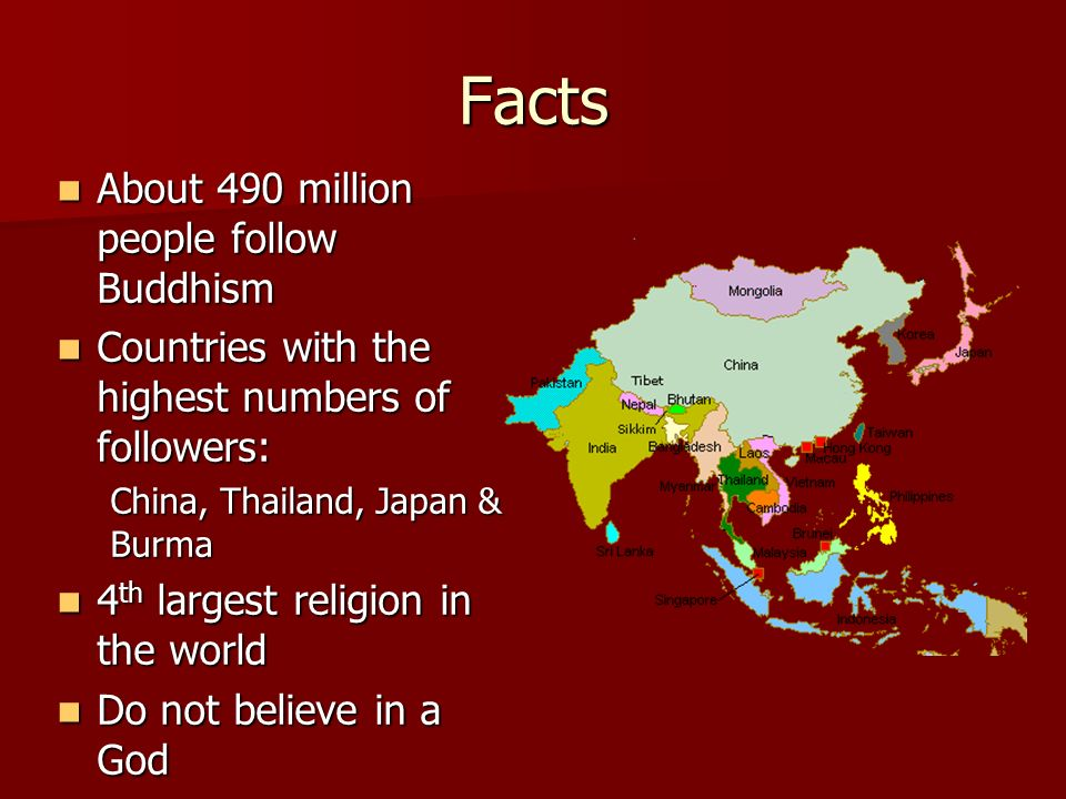 Facts About 490 million people follow Buddhism