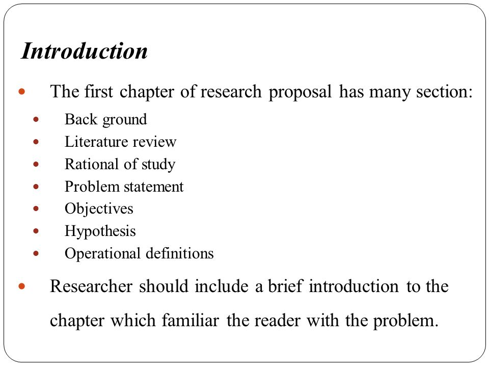 research proposal literature review introduction Your finished research proposal is your research plan include a literature review our introduction y should indicate that you have iv research writing.