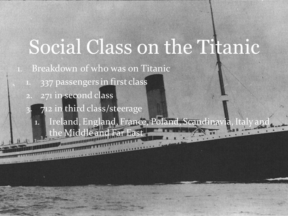 Titanic And Social Class Ppt Video Online Download