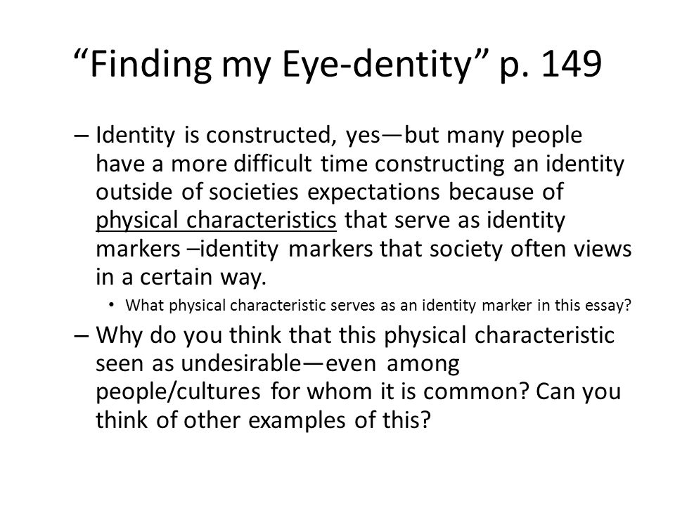 construct identity essay Using constructs drawn from the salient discourses of the individual  being yourself: essays on identity, action, and social life feminist constructions.