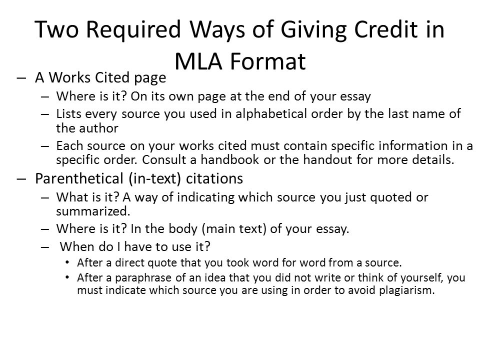 How do you cite something in mla format in the essay