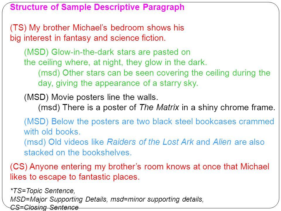 Structure Of Sample Descriptive Paragraph