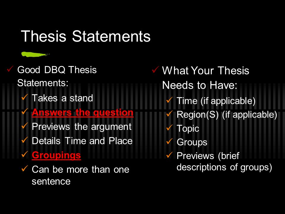 good thesis statements Online guide to writing and many writers use a checklist to evaluate the appropriateness of their chosen thesis statement sometimes it's a good idea to have.