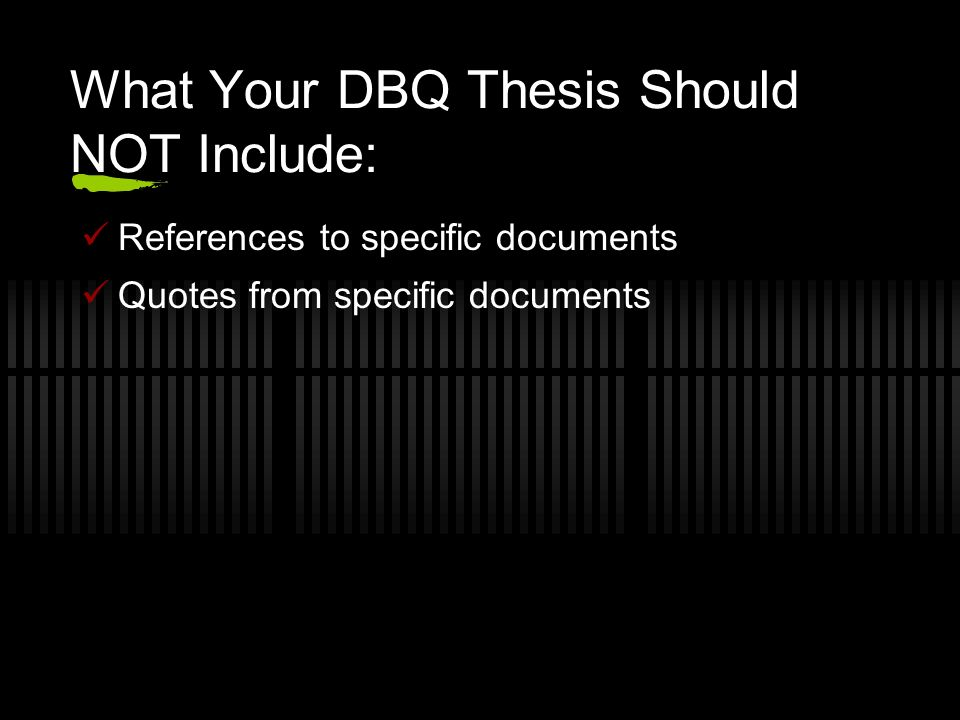 ap world history dbq thesis statements Dbq essay outline guide (dbq) the format is similar to a frq (free response question) (in differing words) of your thesis statement.