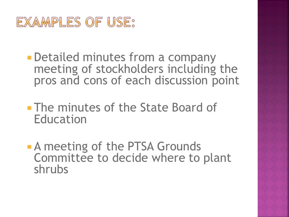 board minutes examples