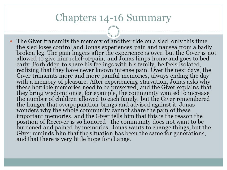 the giver chapter summaries pdf