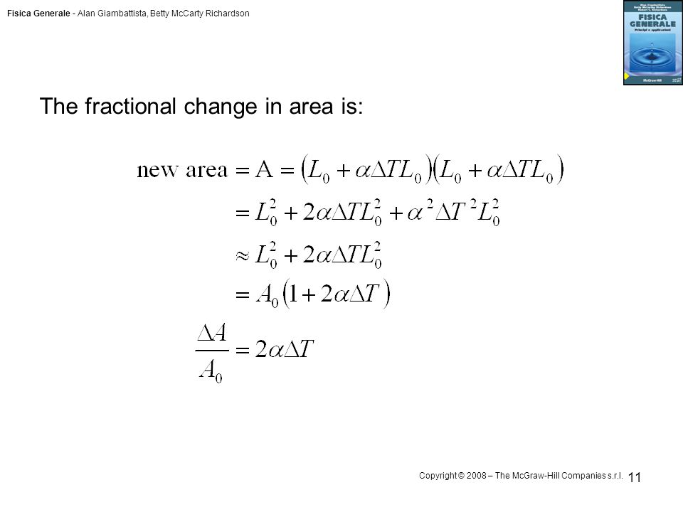 The fractional change in area is: