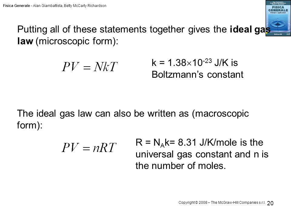 Putting all of these statements together gives the ideal gas law (microscopic form):