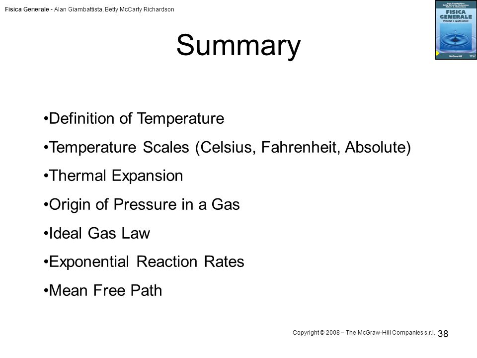 Summary Definition of Temperature