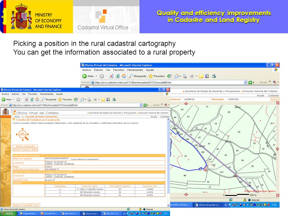 Picking a position in the rural cadastral cartography