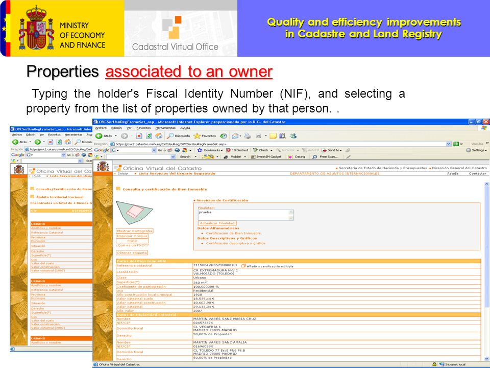 Properties associated to an owner