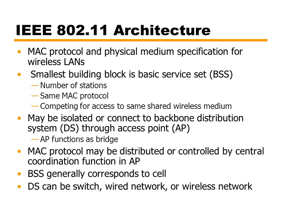 Computer networks with internet technology william for Ieee 802 11 architecture