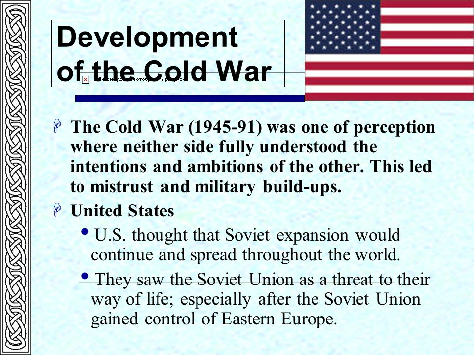 development of the cold war I would like some valuable and consistent points that will help me elaborate a pertinent essay of a good standard on this topic please i would like the suggestions.