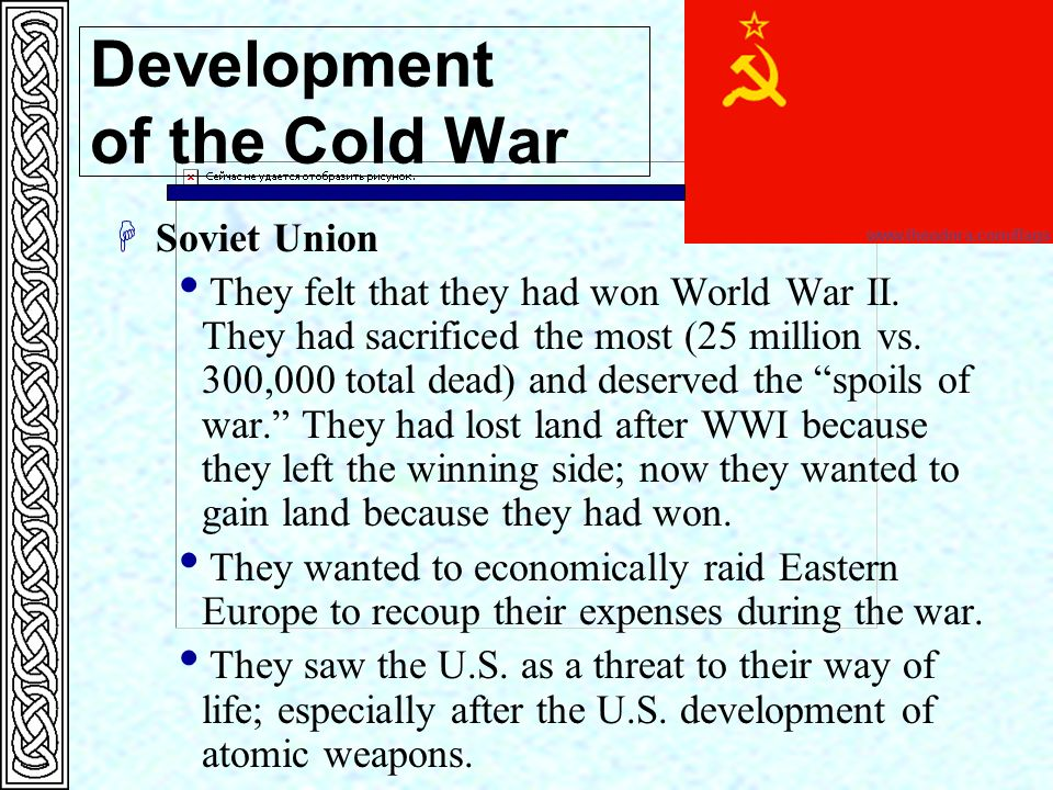 the history of nuclear weapons and their influence on the cold war Nuclear arms race was a key factor in extending the time period of cold war the seeds of hostility between ussr and us began after the end of wwi with the rising of communism in ussr and stalin rule made it worse us was afraid of ussr expansion and wants possession of various states of ussr to affect their foreign policy.
