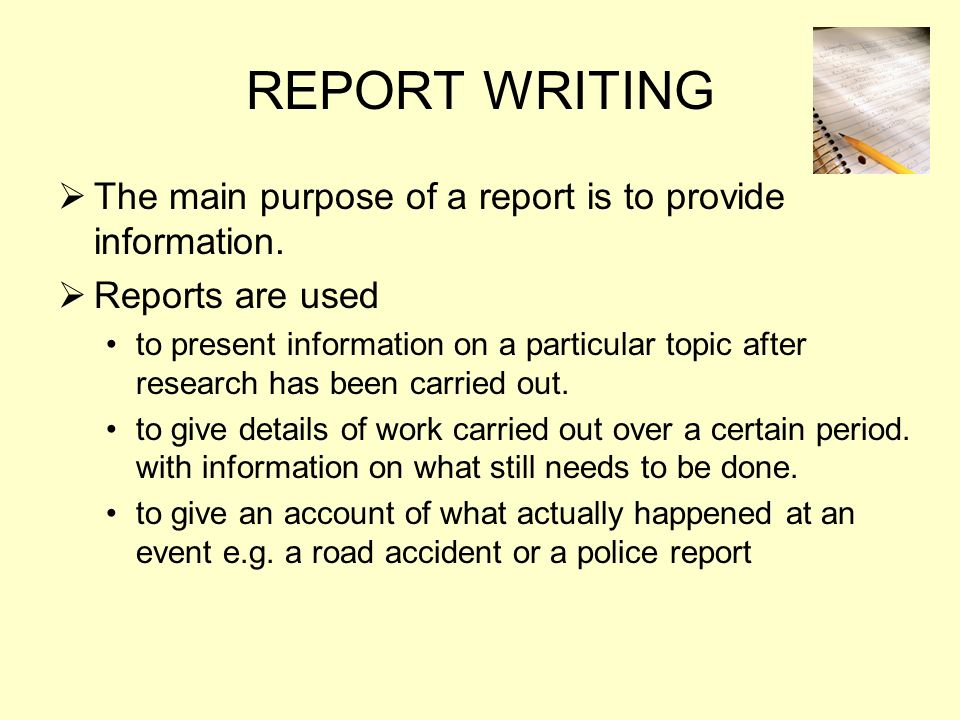 what is the primary purpose of accident reporting