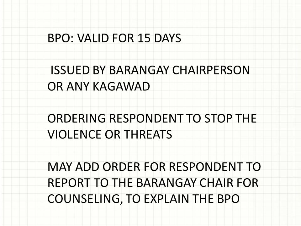 Barangay protection order ra no 9262 ppt video online download 4 bpo pronofoot35fo Image collections