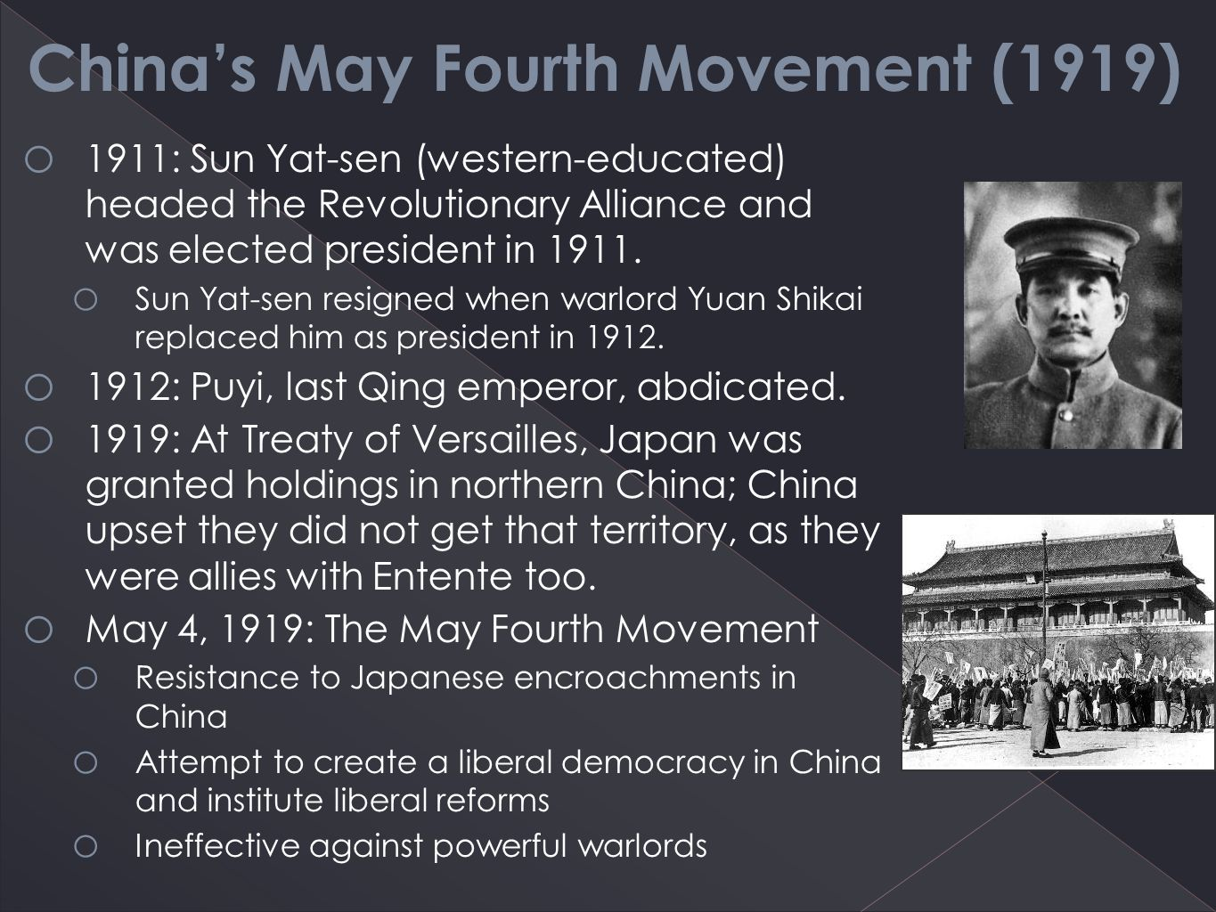 the may 4th movement in china In 1919, the may fourth movement was spawned by university students protesting china's weakness at the hands of exploitative warlords and western imperialism and became one of modern china's most pivotal moments.