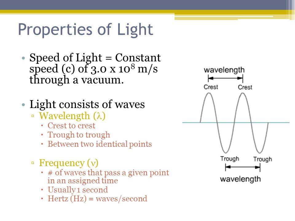 speed of light constant. properties of light speed \u003d constant (c) 3.0 x 108 a