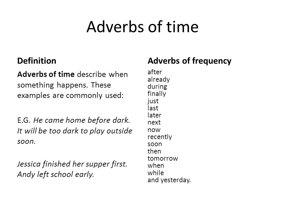 Adverbs Of Time Definition Adverbs Of Frequency