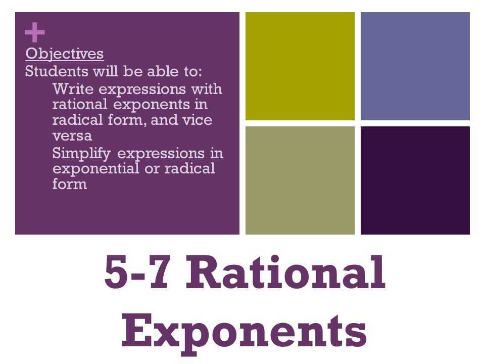 write each expression in radical form Chapter 7 - roots, radicals, and complex numbers 71 roots and radicals 711 notation and terminology  write each expression in radical form: (a) (25)1 2.
