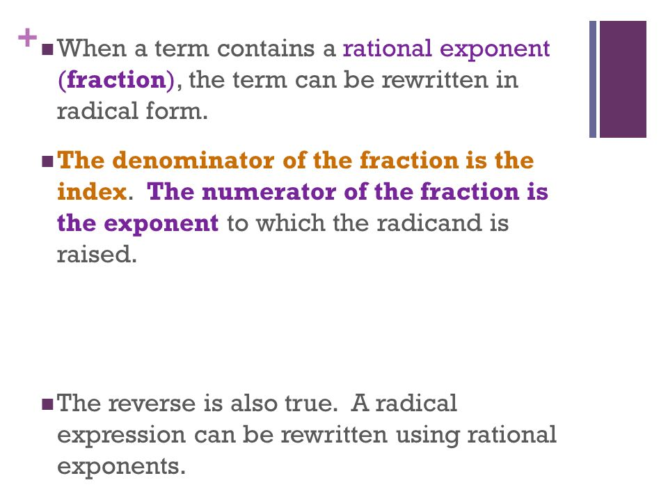 SOLUTION: use rational exponents to write as a single radical expression x^(1/6)*y^(1/3)*z^(1/4)