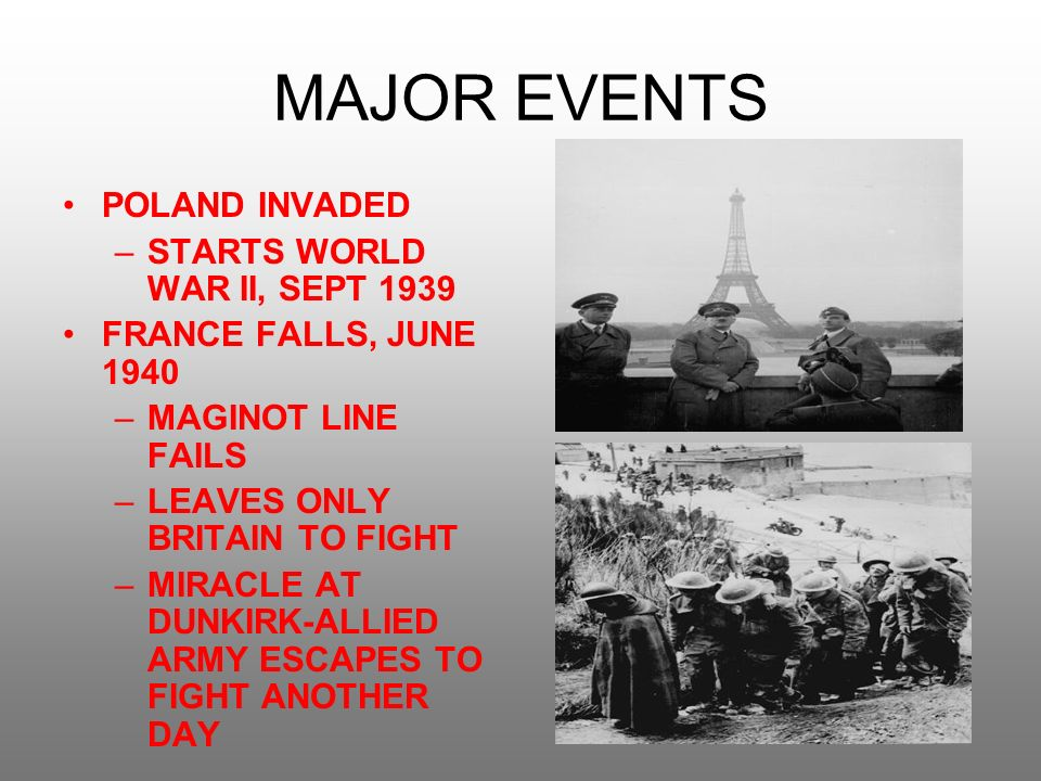 the events of the day that started world war ii During world war ii (1939-1945), the battle of normandy, which lasted from june 1944 to august 1944, resulted in the allied liberation of western europe from nazi germany's control codenamed operation overlord, the battle began on june 6, 1944, also known as d-day, when some 156,000 american.