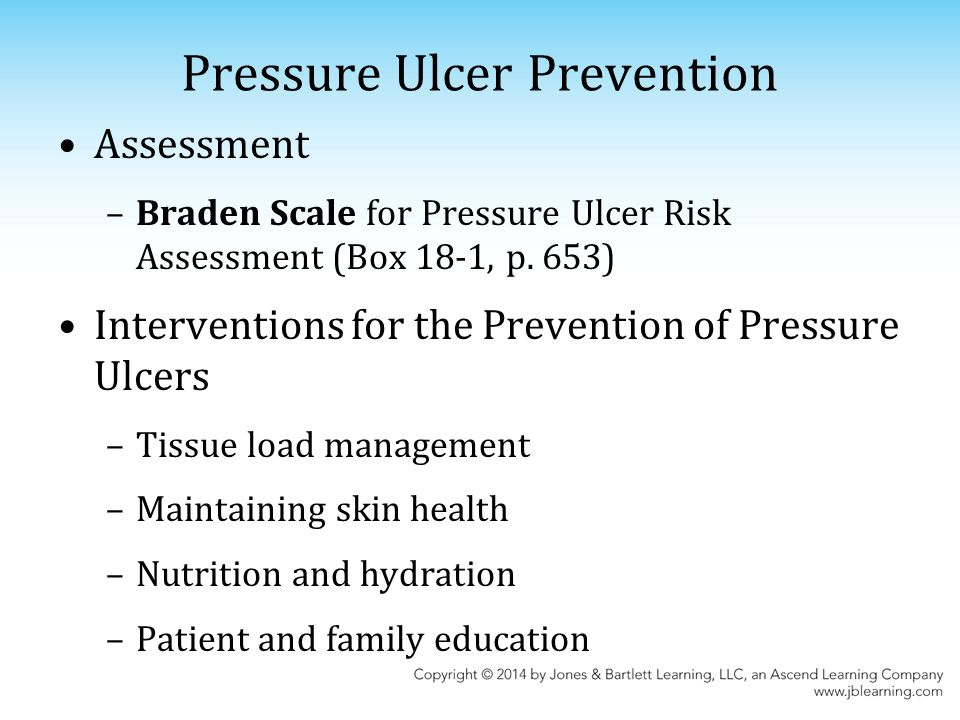 prevention of pressure ulcer Assessment, diagnosis, prevention and treatment of pressure ulcers the  recommendations in this quick reference guide are a general guide to  appropriate.
