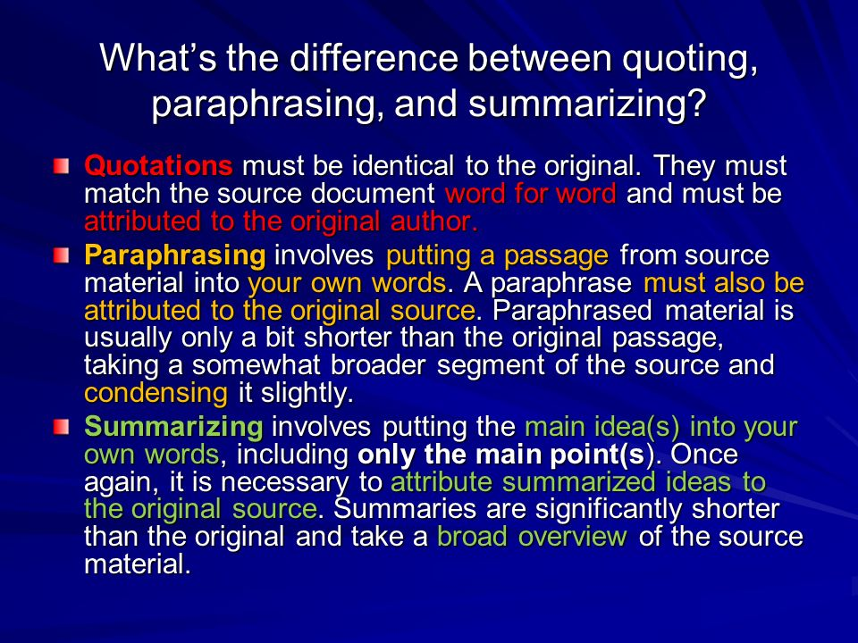 Difference between paraphrase and citation