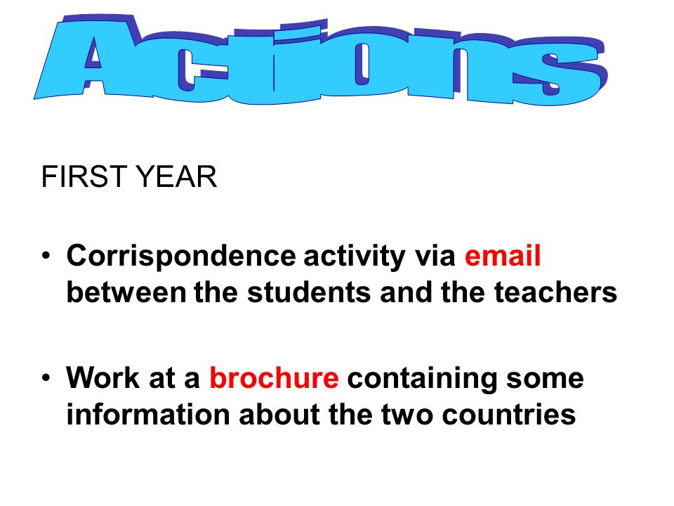 Actions FIRST YEAR. Corrispondence activity via email between the students and the teachers.