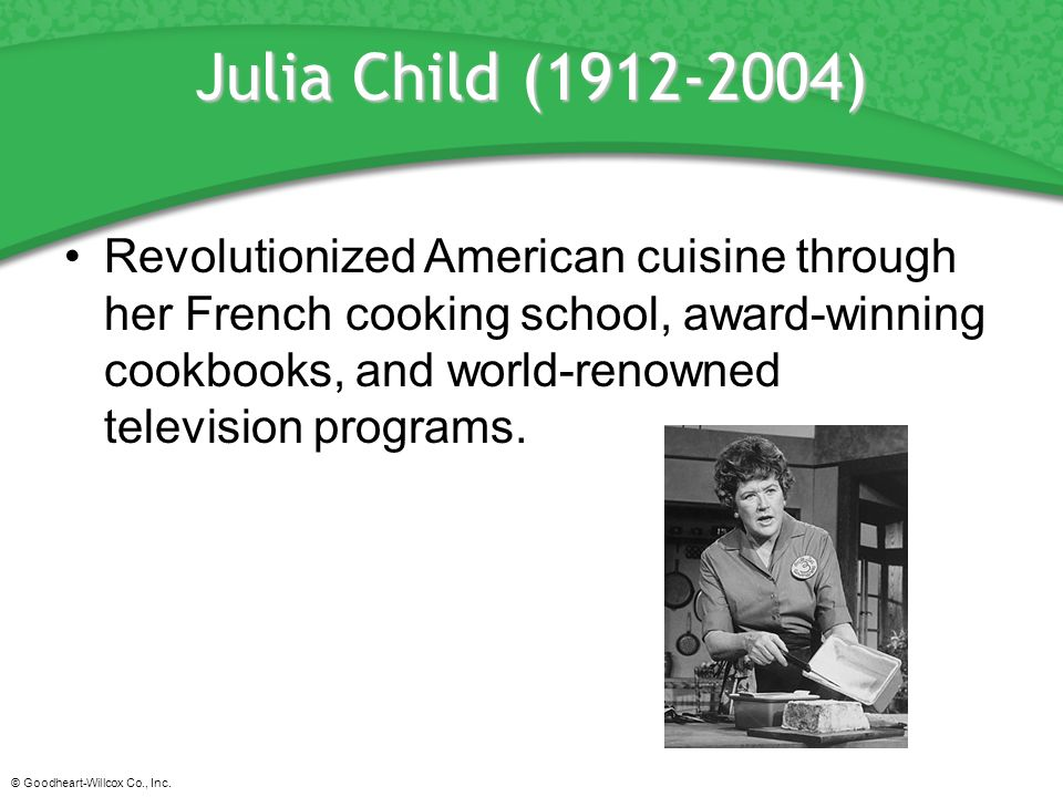 Principles of hospitality and tourism ppt download for Julia child cooking school