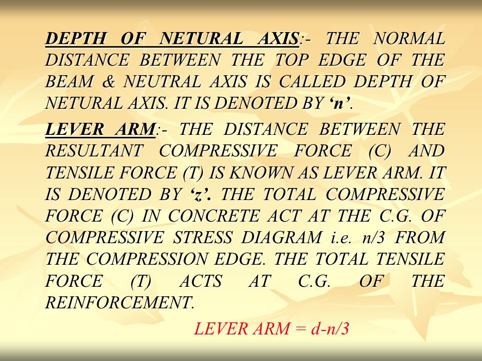 Lever Arm Depth : Design of singly reinforced beam ppt video online download