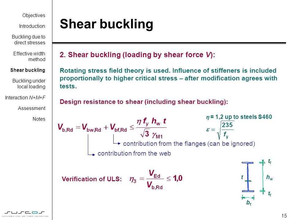 Shear buckling 2. Shear buckling (loading by shear force V):