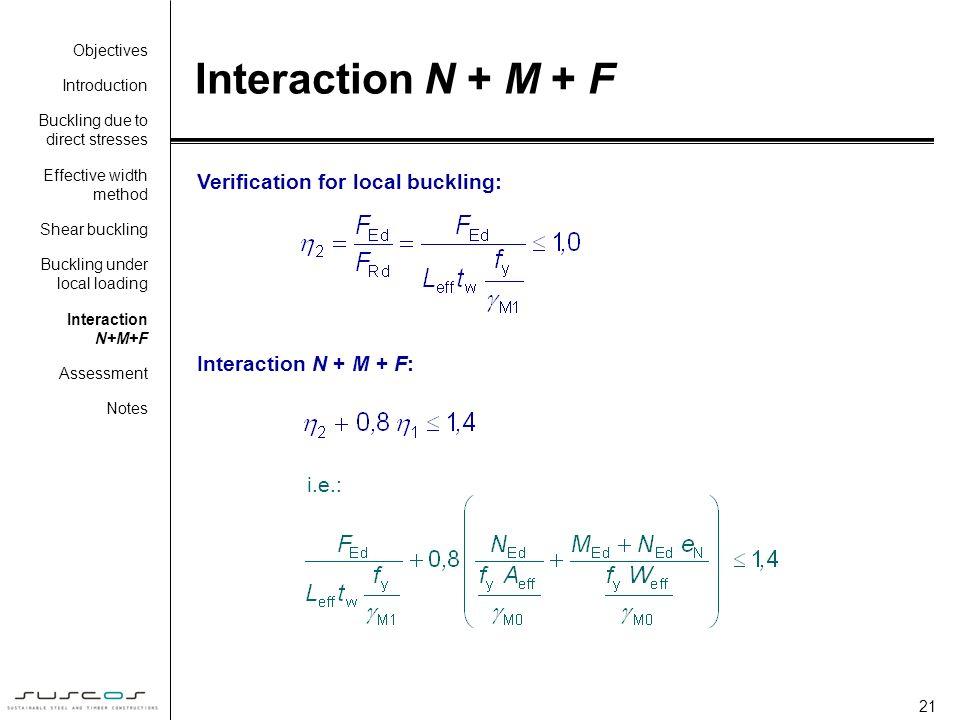 Interaction N + M + F Verification for local buckling: