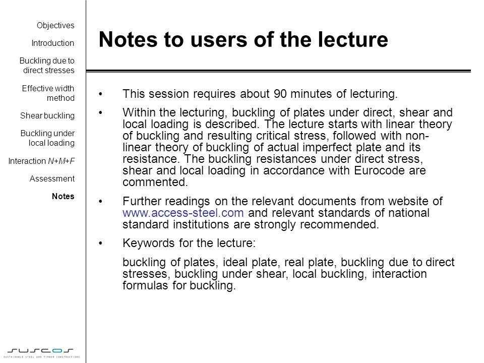 Notes to users of the lecture
