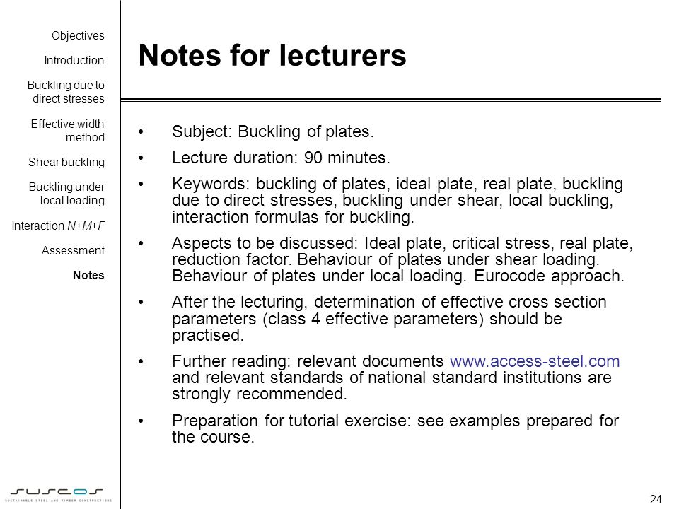 Notes for lecturers Subject: Buckling of plates.