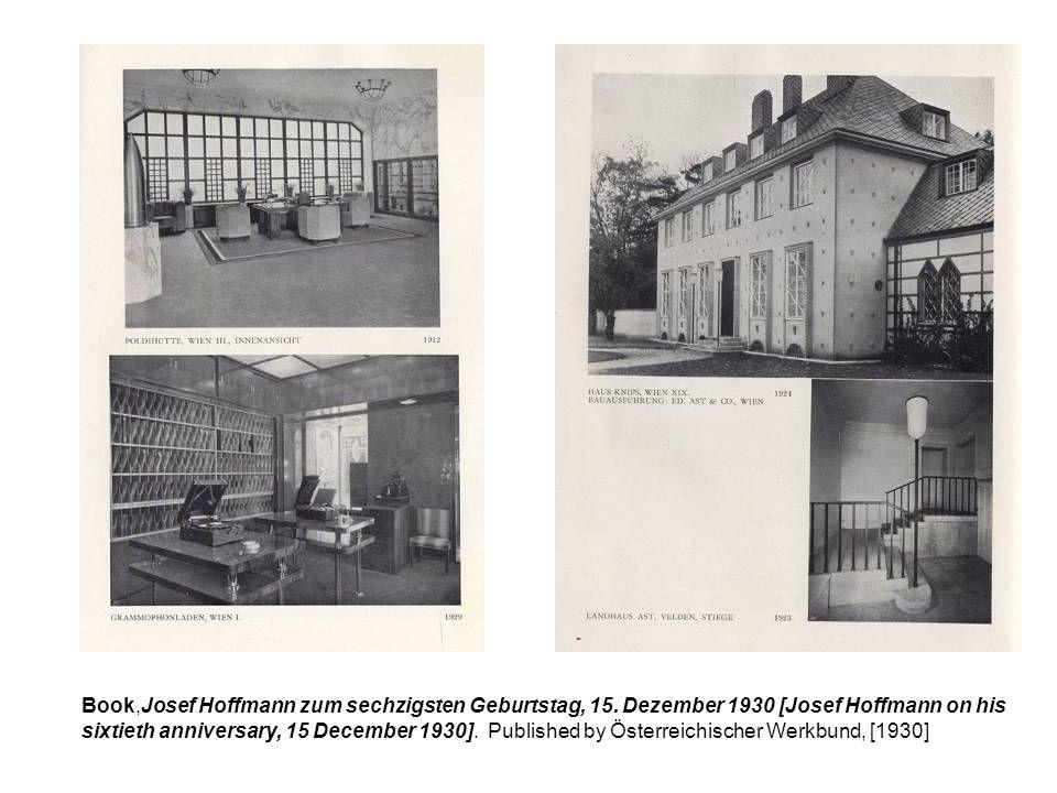 Book,Josef Hoffmann zum sechzigsten Geburtstag, 15