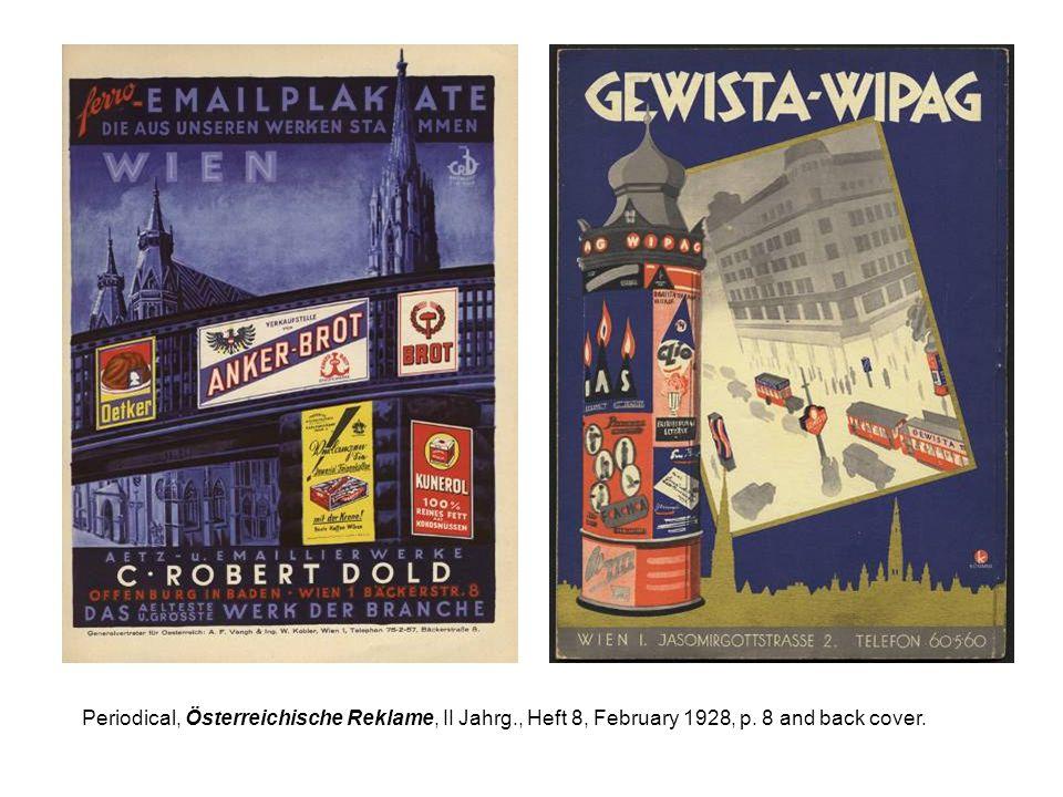 Periodical, Österreichische Reklame, II Jahrg