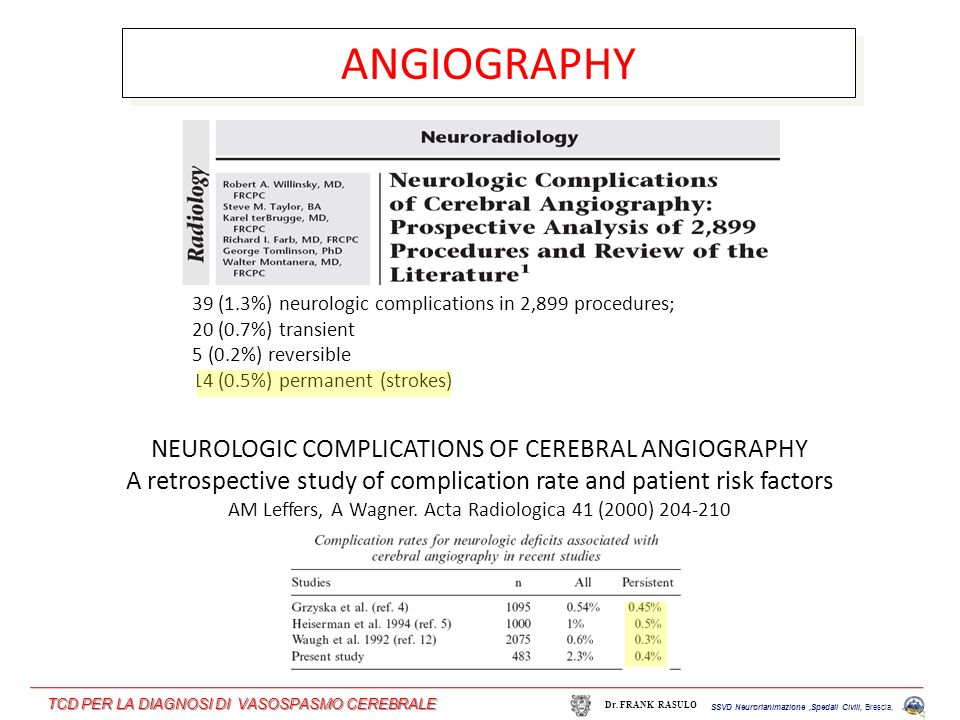 ANGIOGRAPHY NEUROLOGIC COMPLICATIONS OF CEREBRAL ANGIOGRAPHY