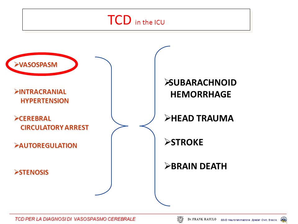TCD in the ICU SUBARACHNOID HEMORRHAGE HEAD TRAUMA STROKE BRAIN DEATH