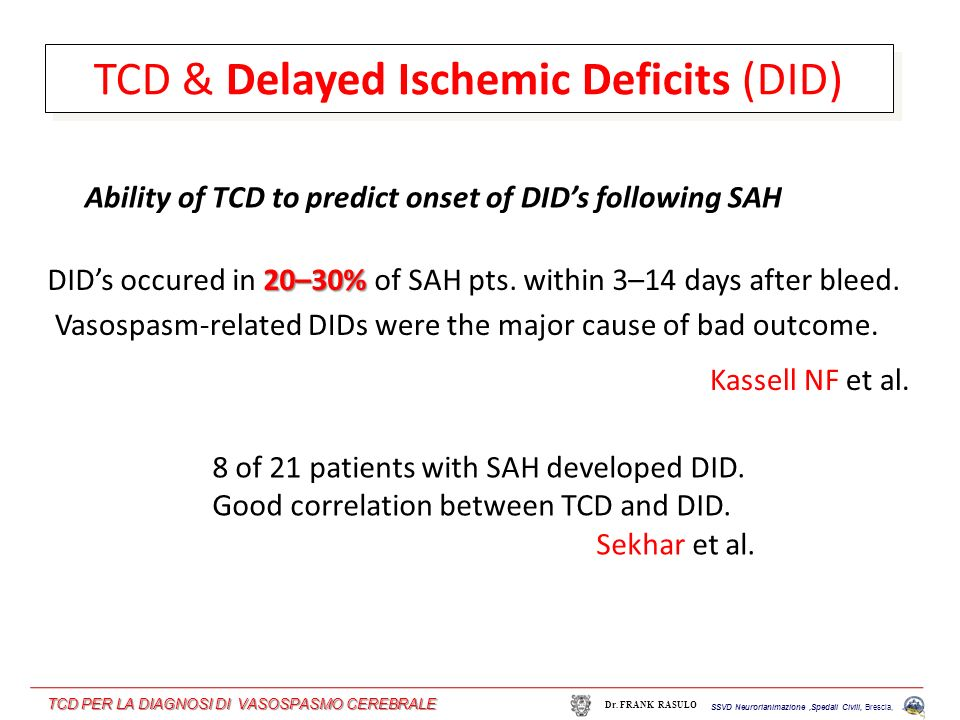 TCD & Delayed Ischemic Deficits (DID)