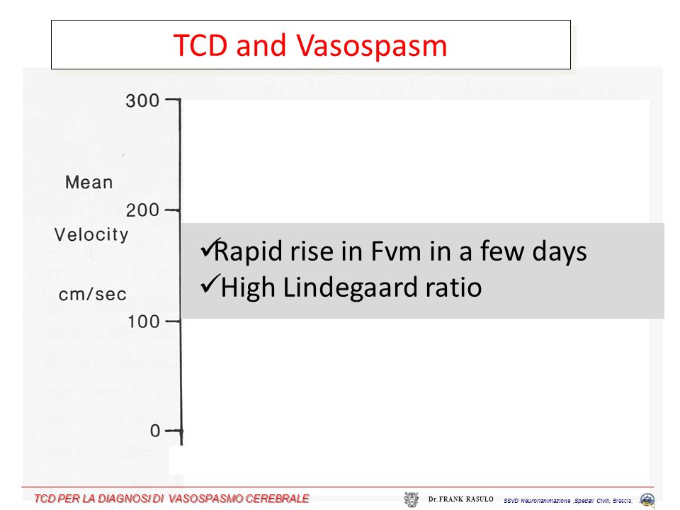 TCD and Vasospasm Rapid rise in Fvm in a few days
