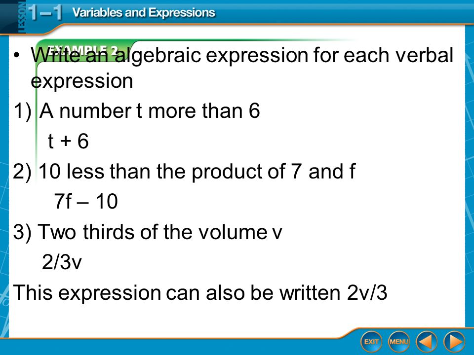 write an expression for 7 minus the product of v and 3