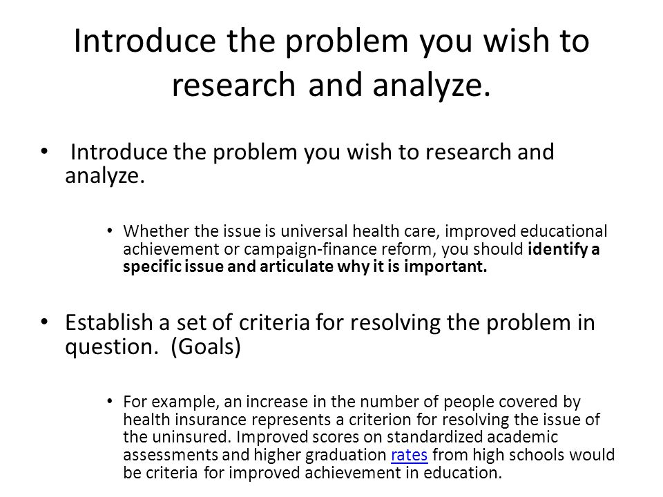 how to do a policy analysis paper ppt video online  introduce the problem you wish to research and analyze