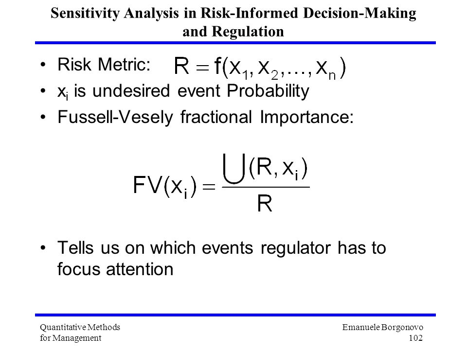 Sensitivity Analysis in Risk-Informed Decision-Making and Regulation